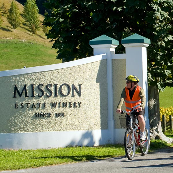 hawkes bay bike wine tours - visiting mission estate