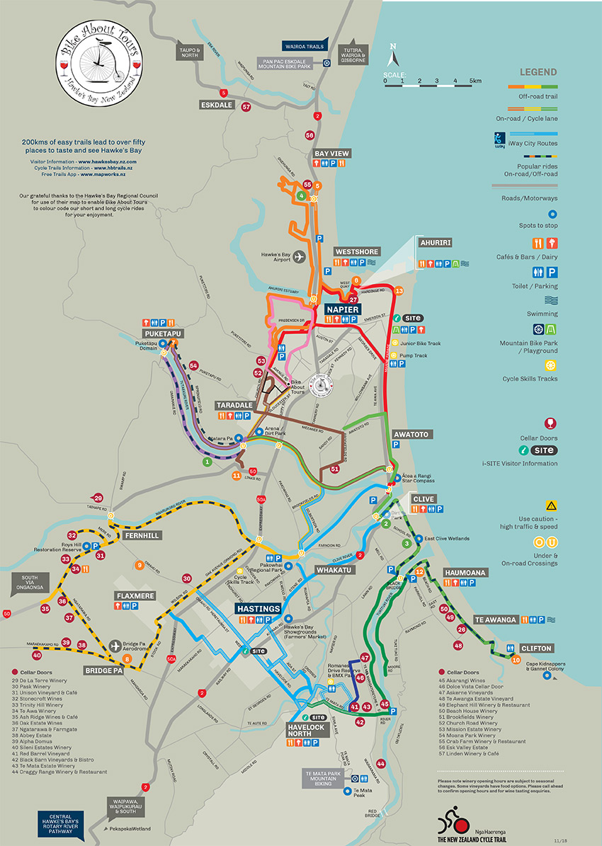 Hawkes Bay Cycle Trail Map