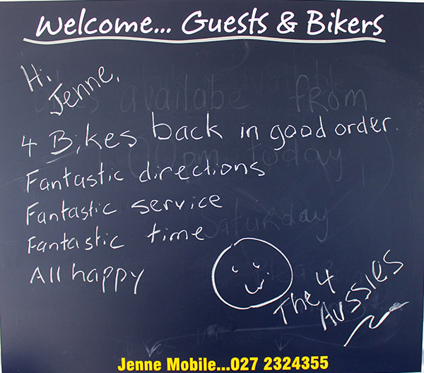the napier bike hire blackboard